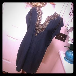 Chic Calypso St Barth Silk Beaded NavyMidi Dress